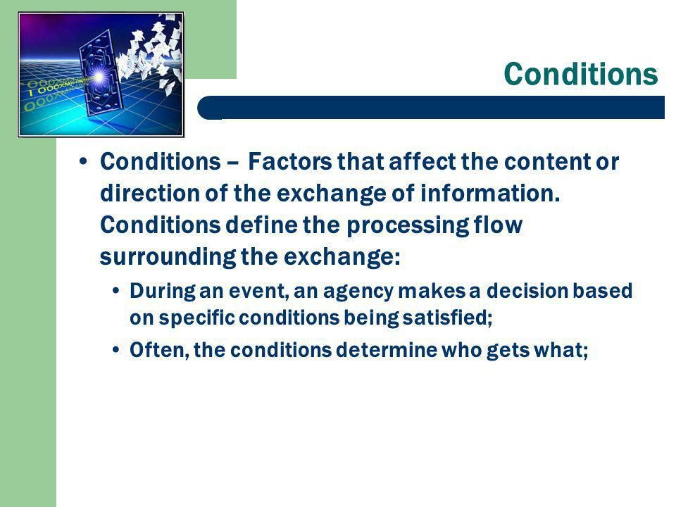 Conditions Conditions – Factors that affect the content or direction of the exchange of information.