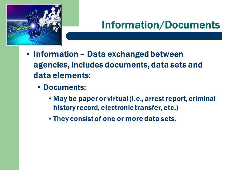 Information/Documents Information – Data exchanged between agencies, includes documents, data sets and data elements: Documents: May be paper or virtual (i.e., arrest report, criminal history record, electronic transfer, etc.) They consist of one or more data sets.