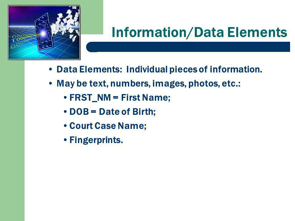 Information/Data Elements Data Elements: Individual pieces of information.