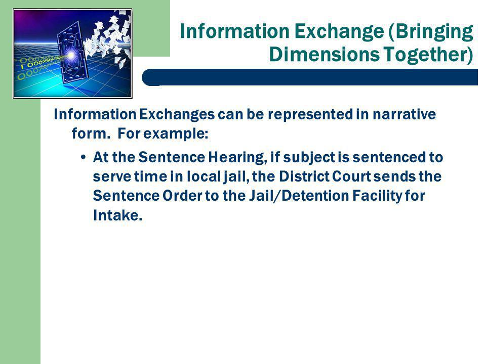 Information Exchange (Bringing Dimensions Together) Information Exchanges can be represented in narrative form.