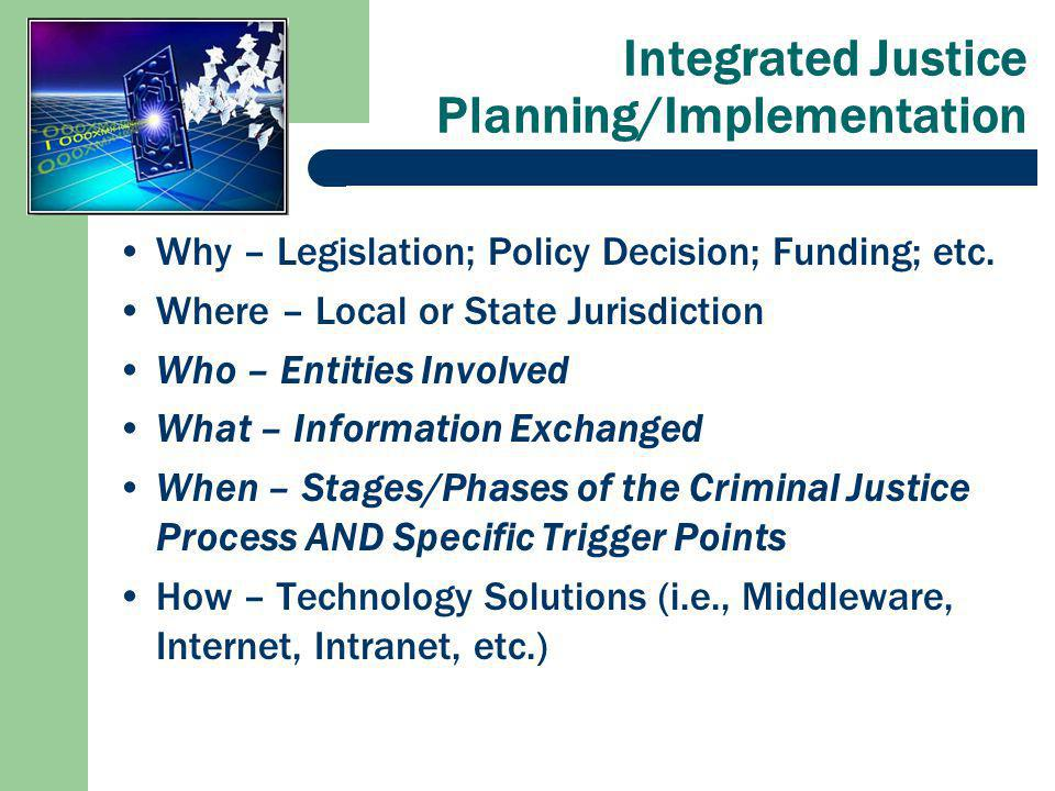 Integrated Justice Planning/Implementation Why – Legislation; Policy Decision; Funding; etc.