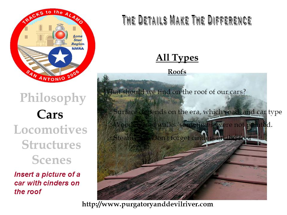 http://www.purgatoryanddevilriver.com Cars Locomotives Structures Scenes Philosophy All Types Roofs.: Surface depends on the era, which road, and car type.: Wooden roof walks sometimes were not painted..: Steam era.