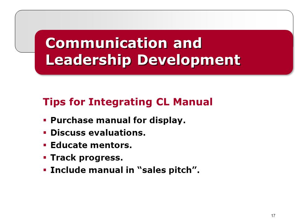 17 Communication and Leadership Development Purchase manual for display.