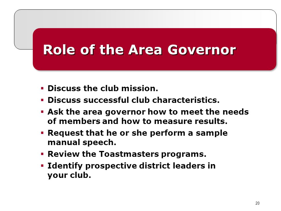 20 Role of the Area Governor Discuss the club mission.