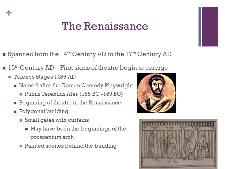 + The Renaissance Spanned from the 14 th Century AD to the 17 th Century AD 15 th Century AD – First signs of theatre begin to emerge Terence Stages 1486 AD Named after the Roman Comedy Playwright Pulius Terentius Afer (185 BC -159 BC) Beginning of theatre in the Renaissance Polygonal building Small gates with curtains May have been the beginnings of the proscenium arch Painted scenes behind the building