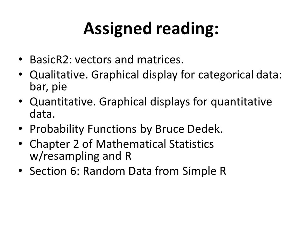 Assigned reading: BasicR2: vectors and matrices. Qualitative.