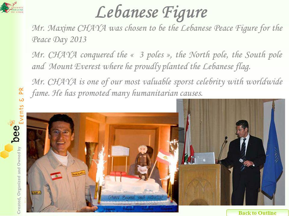 Mr. Maxime CHAYA was chosen to be the Lebanese Peace Figure for the Peace Day 2013 Mr.