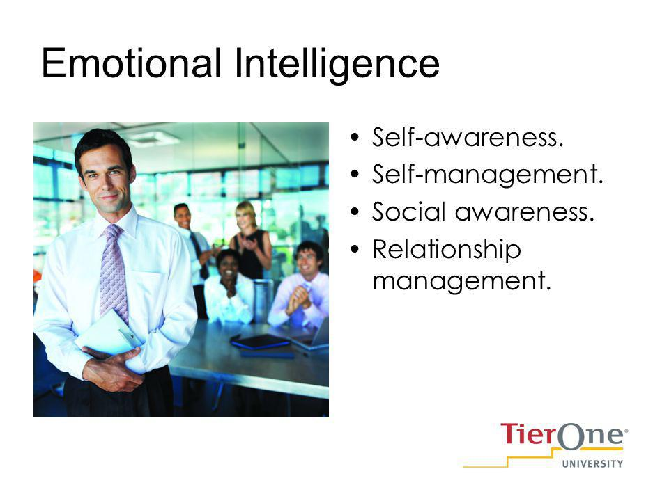 Emotional Intelligence Self-awareness. Self-management. Social awareness. Relationship management.