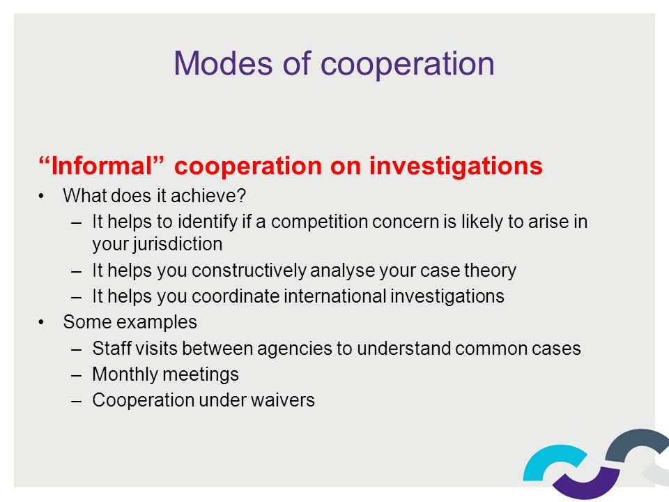 Modes of cooperation Informal cooperation on investigations What does it achieve.
