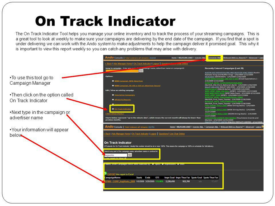 On Track Indicator The On Track Indicator Tool helps you manage your online inventory and to track the process of your streaming campaigns.