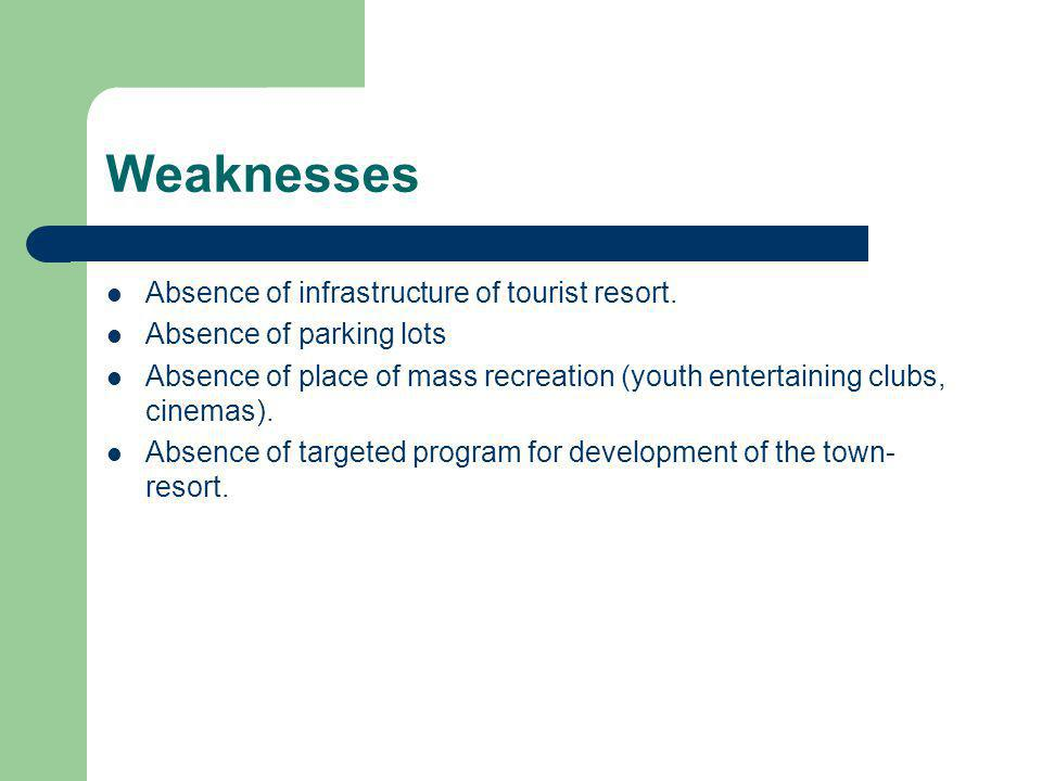 Weaknesses Absence of infrastructure of tourist resort.