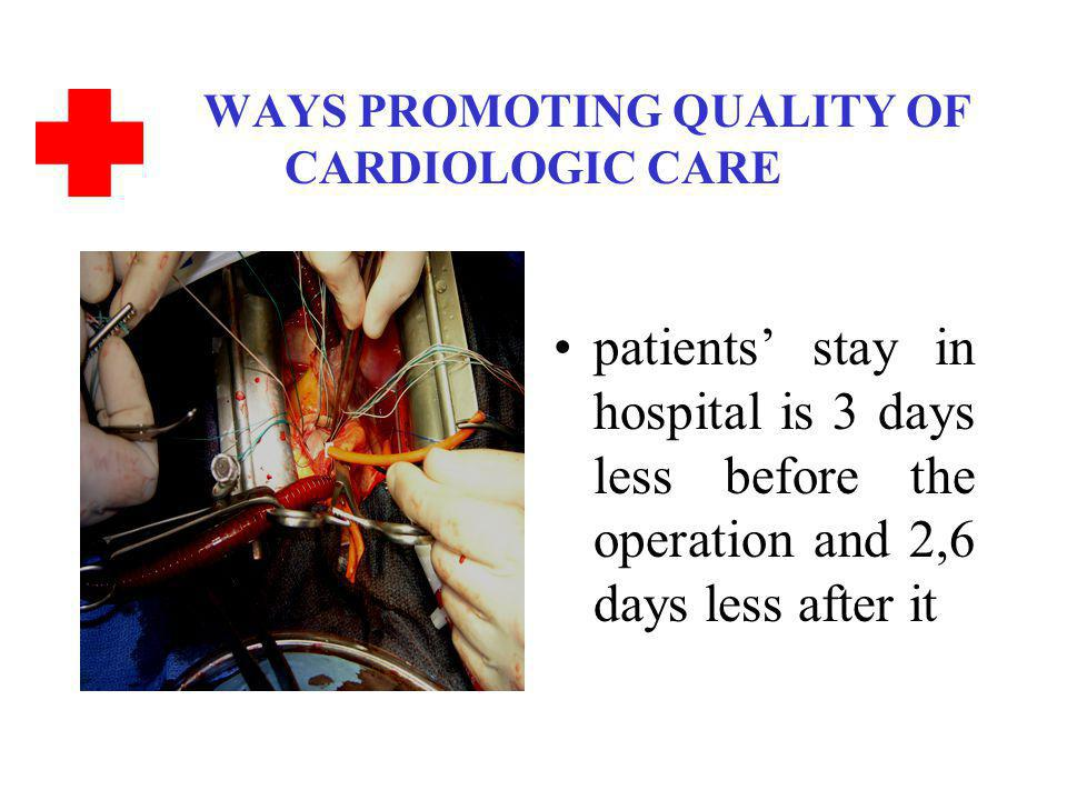 WAYS PROMOTING QUALITY OF CARDIOLOGIC CARE patients stay in hospital is 3 days less before the operation and 2,6 days less after it