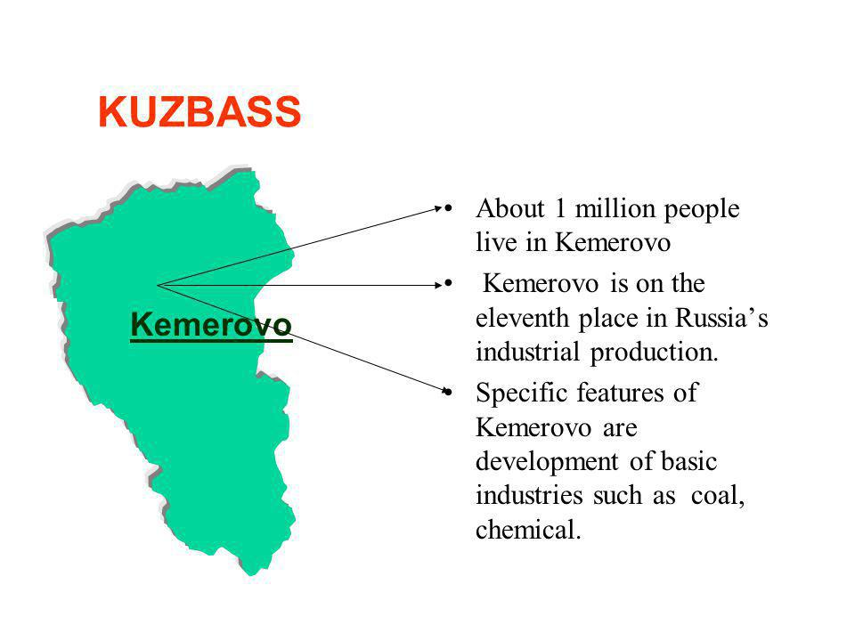 About 1 million people live in Kemerovo Kemerovo is on the eleventh place in Russias industrial production.