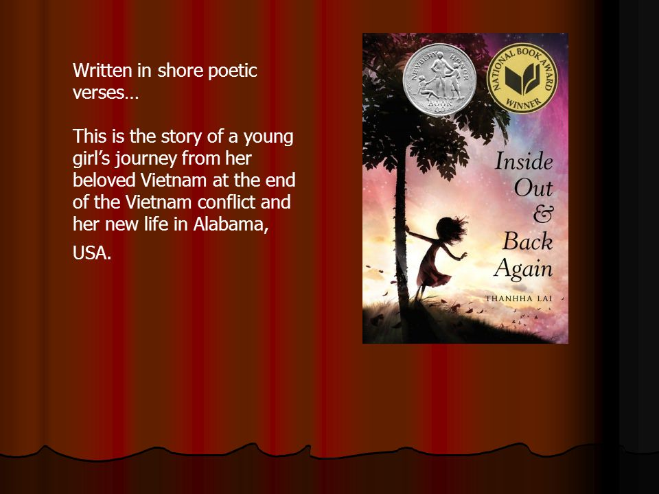 Written in shore poetic verses… This is the story of a young girls journey from her beloved Vietnam at the end of the Vietnam conflict and her new life in Alabama, USA.