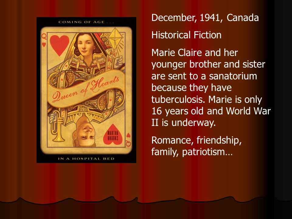 December, 1941, Canada Historical Fiction Marie Claire and her younger brother and sister are sent to a sanatorium because they have tuberculosis.