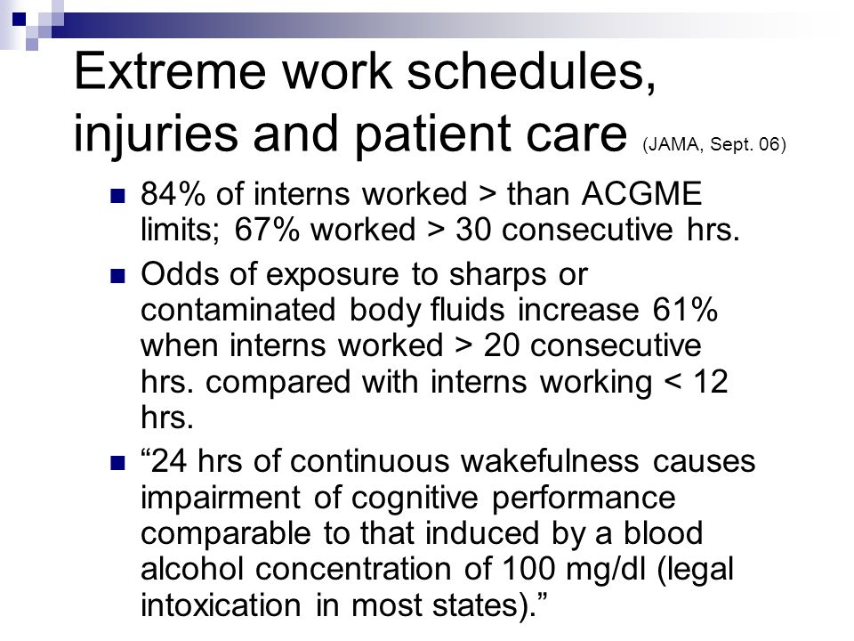 Extreme work schedules, injuries and patient care (JAMA, Sept.
