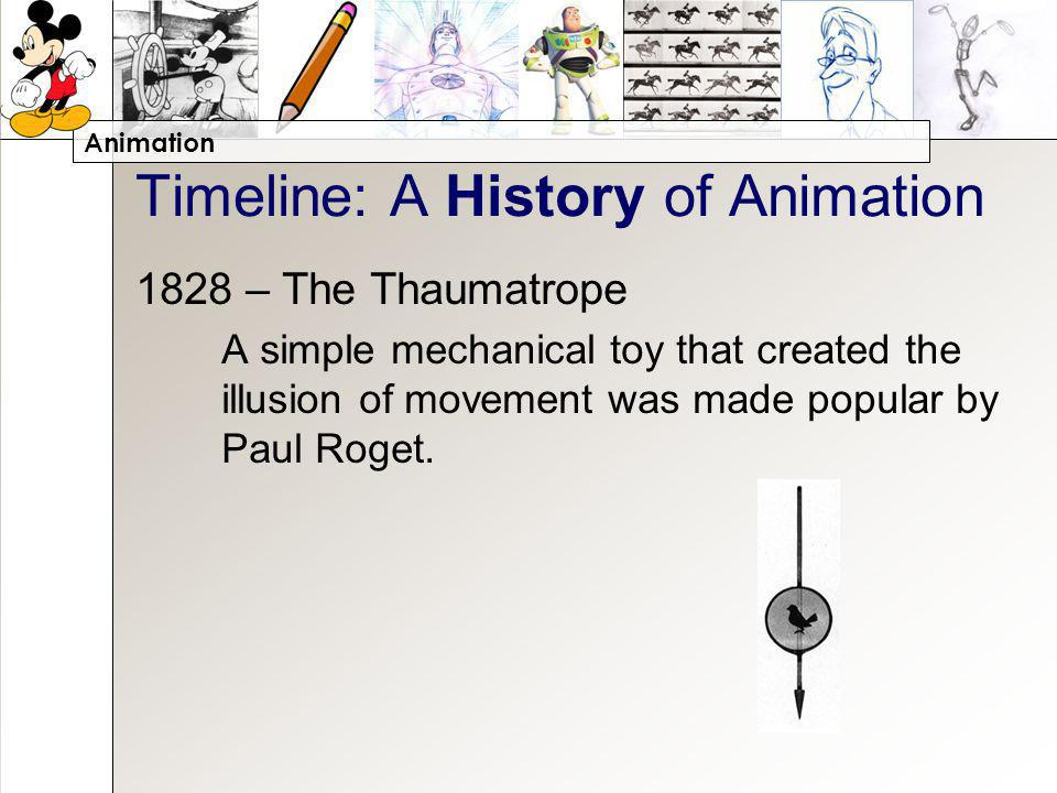 Animation Timeline: A History of Animation 1828 – The Thaumatrope A simple mechanical toy that created the illusion of movement was made popular by Paul Roget.