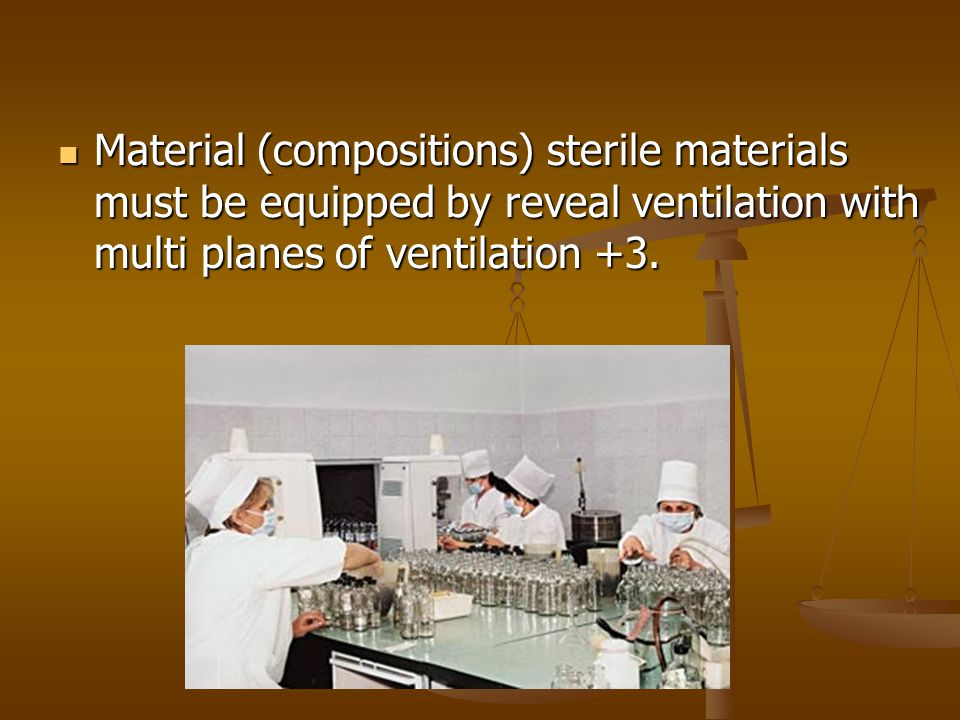 Material (compositions) sterile materials must be equipped by reveal ventilation with multi planes of ventilation +3.