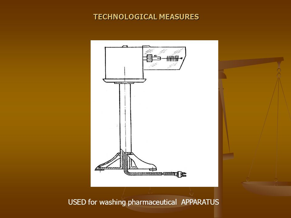 USED for washing pharmaceutical APPARATUS TECHNOLOGICAL MEASURES