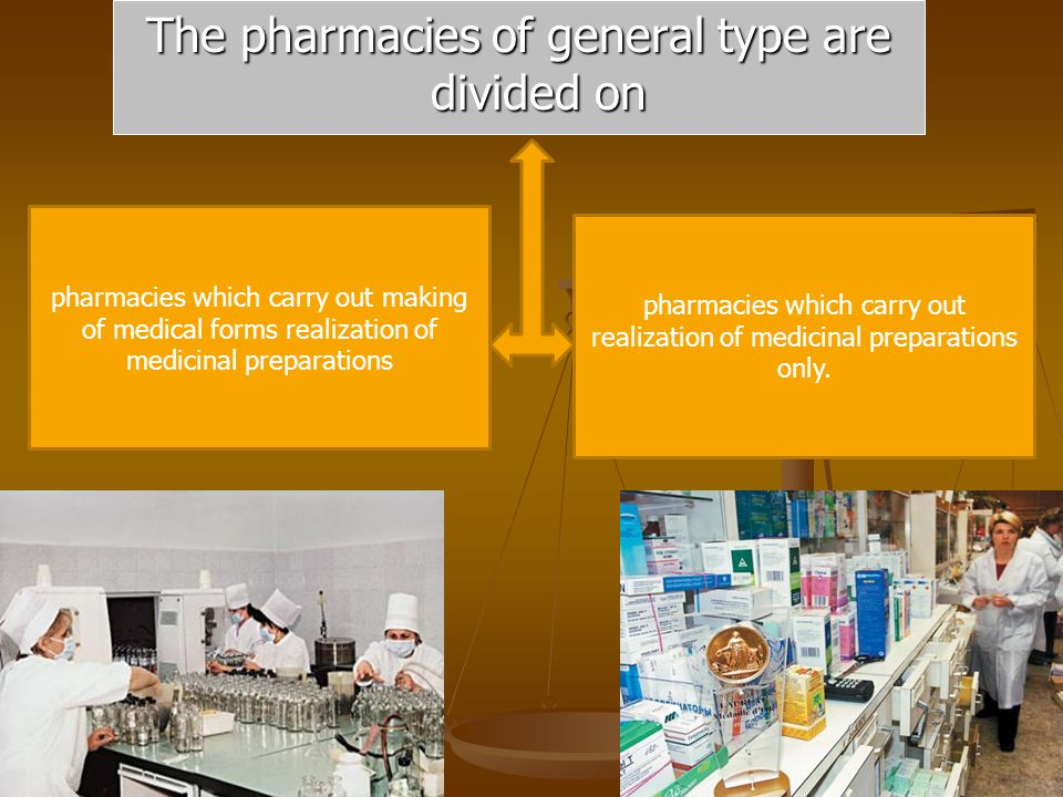 The pharmacies of general type are divided on pharmacies which carry out realization of medicinal preparations only.