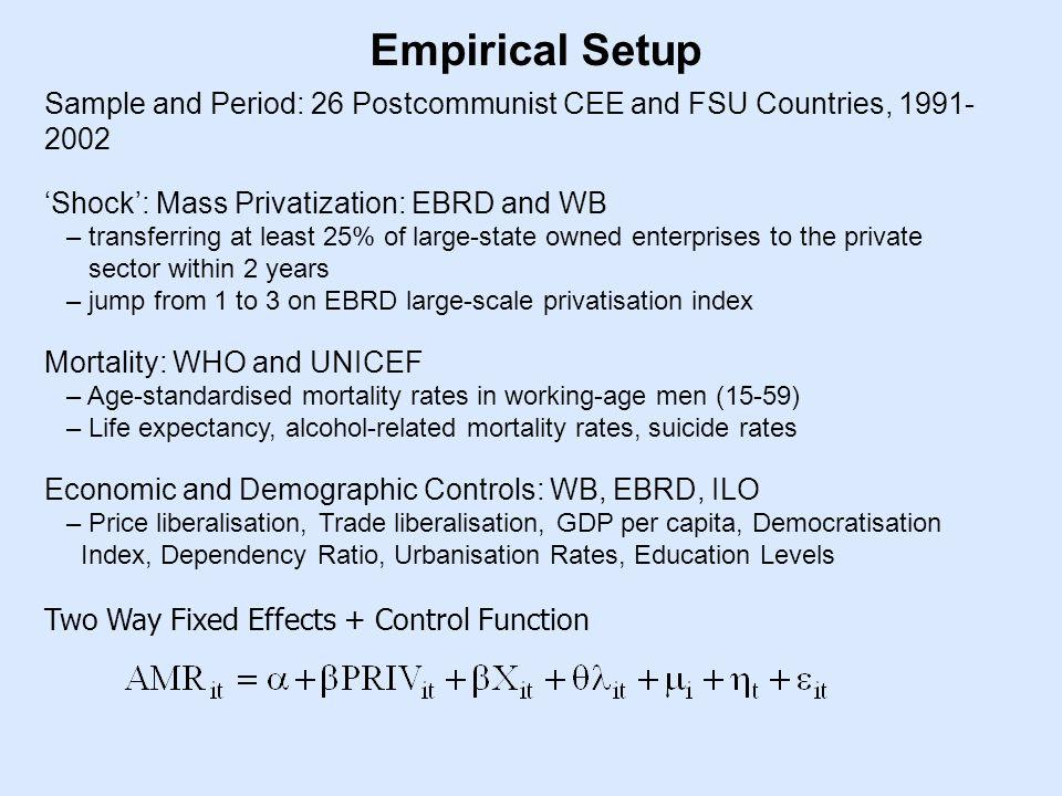 Empirical Setup Sample and Period: 26 Postcommunist CEE and FSU Countries, 1991- 2002 Shock: Mass Privatization: EBRD and WB – transferring at least 25% of large-state owned enterprises to the private sector within 2 years – jump from 1 to 3 on EBRD large-scale privatisation index Mortality: WHO and UNICEF – Age-standardised mortality rates in working-age men (15-59) – Life expectancy, alcohol-related mortality rates, suicide rates Economic and Demographic Controls: WB, EBRD, ILO – Price liberalisation, Trade liberalisation, GDP per capita, Democratisation Index, Dependency Ratio, Urbanisation Rates, Education Levels Two Way Fixed Effects + Control Function