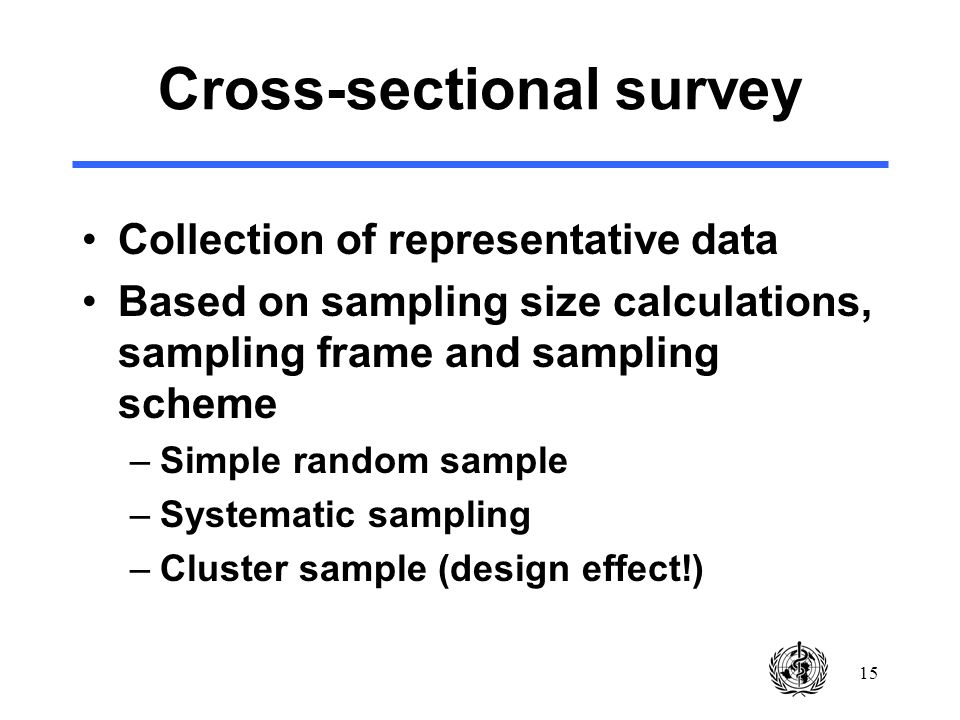15 Cross-sectional survey Collection of representative data Based on sampling size calculations, sampling frame and sampling scheme –Simple random sample –Systematic sampling –Cluster sample (design effect!)