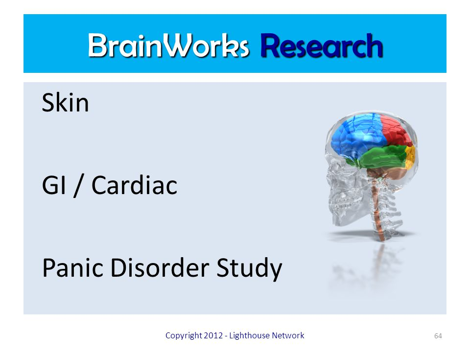 BrainWorks Research Skin GI / Cardiac Panic Disorder Study Copyright 2012 - Lighthouse Network 64