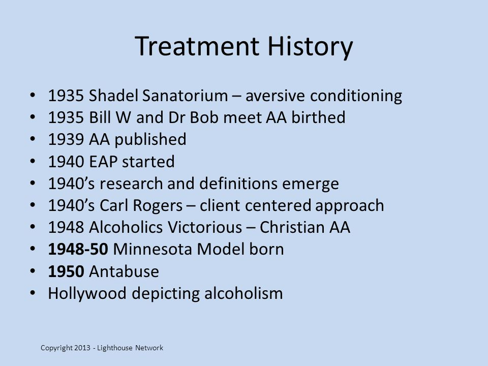 Treatment History 1935 Shadel Sanatorium – aversive conditioning 1935 Bill W and Dr Bob meet AA birthed 1939 AA published 1940 EAP started 1940s research and definitions emerge 1940s Carl Rogers – client centered approach 1948 Alcoholics Victorious – Christian AA 1948-50 Minnesota Model born 1950 Antabuse Hollywood depicting alcoholism Copyright 2013 - Lighthouse Network