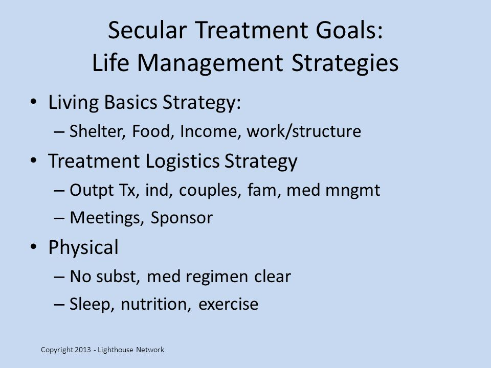 Secular Treatment Goals: Life Management Strategies Living Basics Strategy: – Shelter, Food, Income, work/structure Treatment Logistics Strategy – Outpt Tx, ind, couples, fam, med mngmt – Meetings, Sponsor Physical – No subst, med regimen clear – Sleep, nutrition, exercise Copyright 2013 - Lighthouse Network