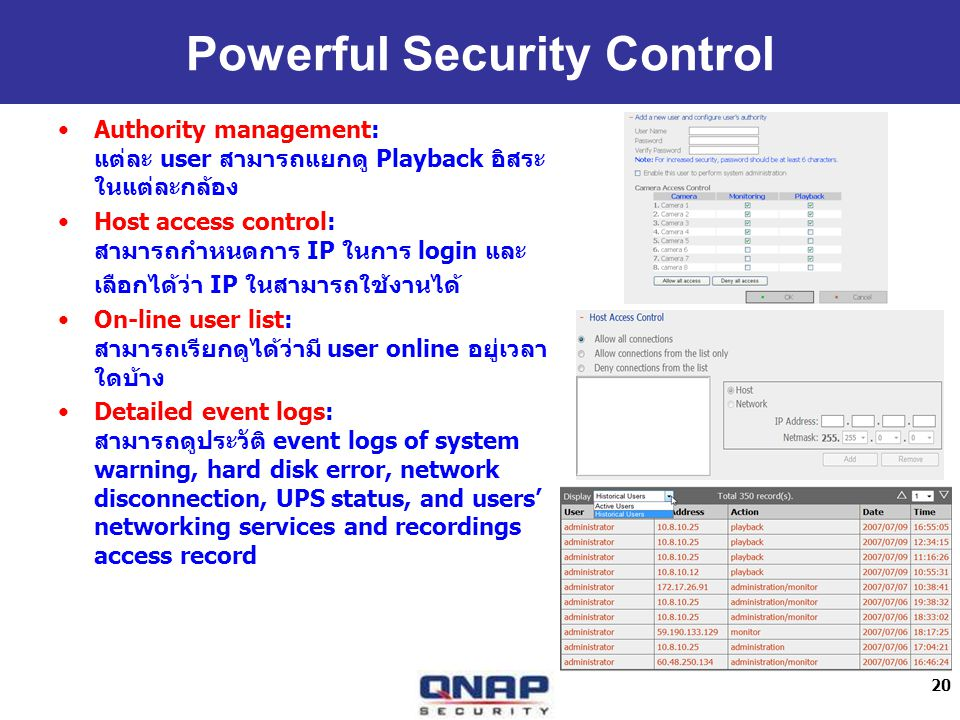 20 Powerful Security Control Authority management: user Playback Host access control: IP login IP On-line user list: user online Detailed event logs: event logs of system warning, hard disk error, network disconnection, UPS status, and users networking services and recordings access record