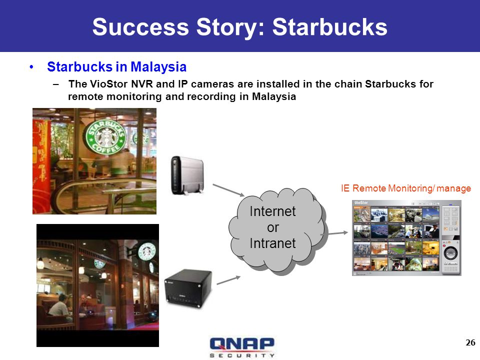 26 Starbucks in Malaysia –The VioStor NVR and IP cameras are installed in the chain Starbucks for remote monitoring and recording in Malaysia Internet or Intranet Internet or Intranet Success Story: Starbucks IE Remote Monitoring/ manage