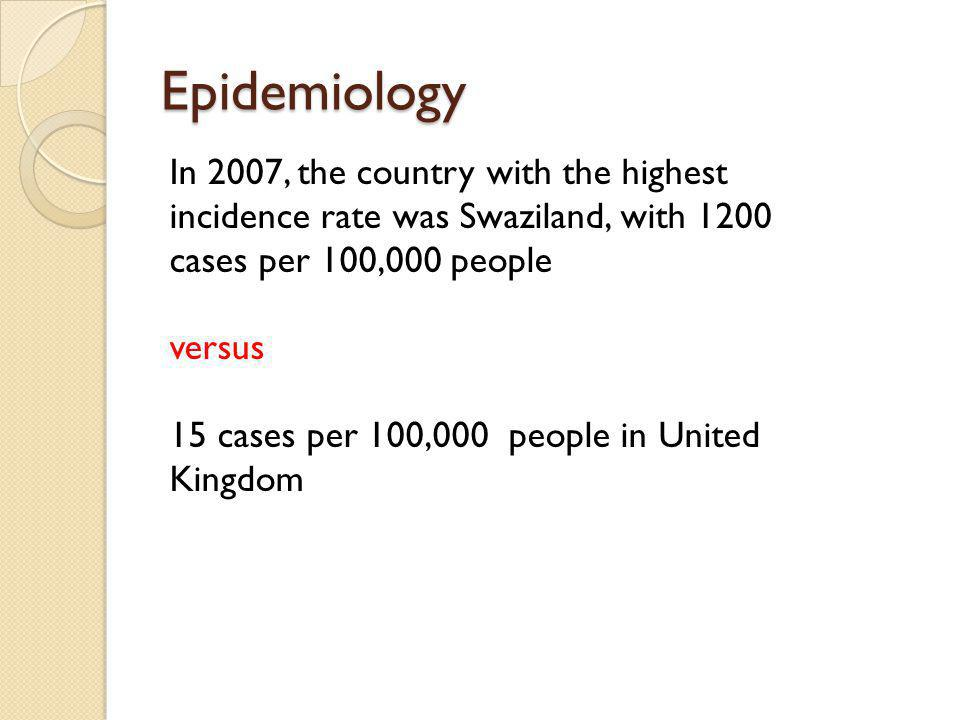 Epidemiology In 2007, the country with the highest incidence rate was Swaziland, with 1200 cases per 100,000 people versus 15 cases per 100,000 people in United Kingdom
