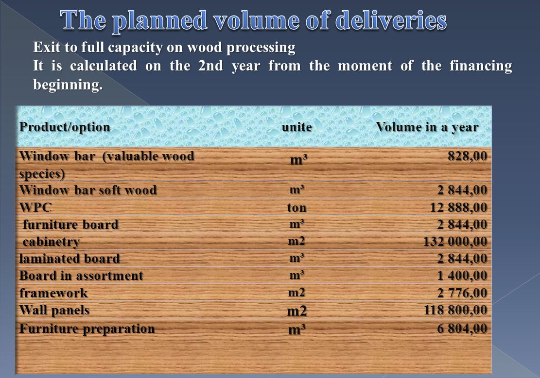 Exit to full capacity on wood processing It is calculated on the 2nd year from the moment of the financing beginning.