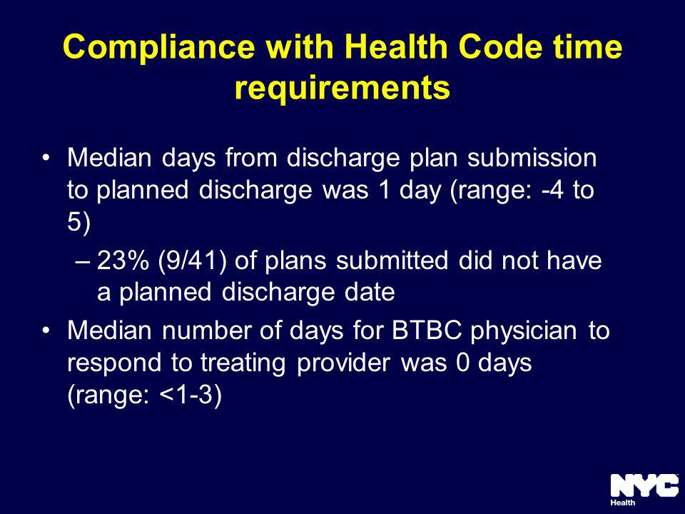 Compliance with Health Code time requirements Median days from discharge plan submission to planned discharge was 1 day (range: -4 to 5) –23% (9/41) of plans submitted did not have a planned discharge date Median number of days for BTBC physician to respond to treating provider was 0 days (range: <1-3)