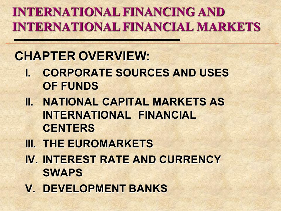 CHAPTER OVERVIEW: I.CORPORATE SOURCES AND USES OF FUNDS II.NATIONAL CAPITAL MARKETS AS INTERNATIONAL FINANCIAL CENTERS III.THE EUROMARKETS IV.INTEREST RATE AND CURRENCY SWAPS V.DEVELOPMENT BANKS