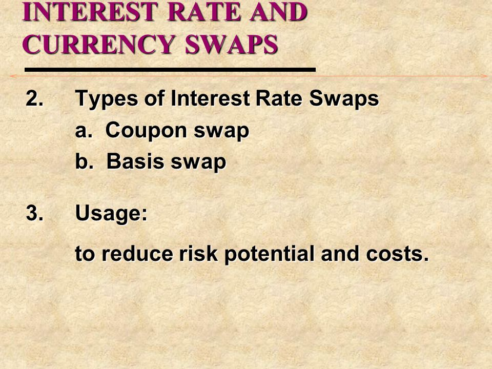 INTEREST RATE AND CURRENCY SWAPS 2. Types of Interest Rate Swaps a.