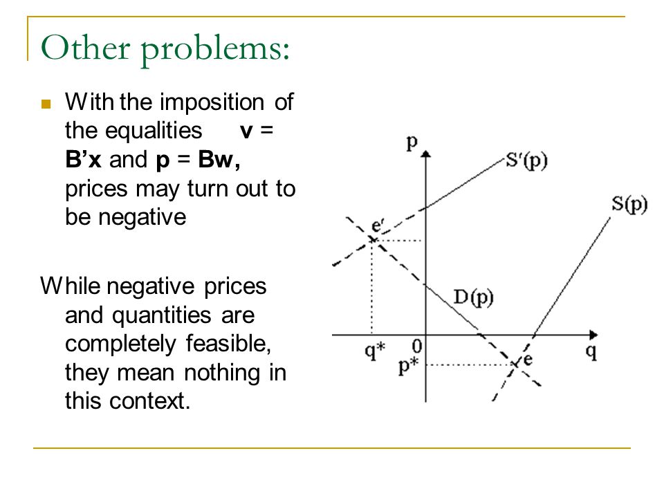 Other problems: With the imposition of the equalities v = Bx and p = Bw, prices may turn out to be negative While negative prices and quantities are completely feasible, they mean nothing in this context.