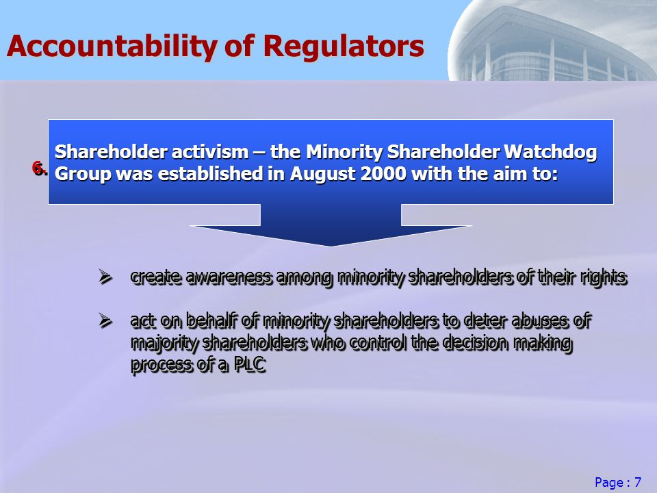Page : 7 Accountability of Regulators 6.