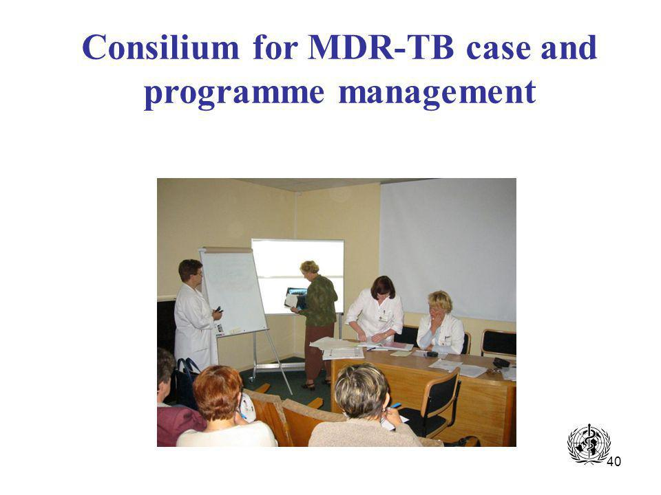 40 Consilium for MDR-TB case and programme management