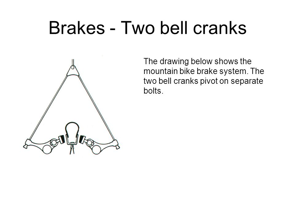 Brakes - Two bell cranks The drawing below shows the mountain bike brake system.