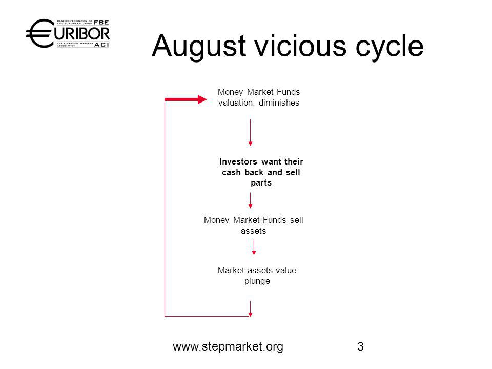 www.stepmarket.org3 August vicious cycle Money Market Funds valuation, diminishes Investors want their cash back and sell parts Market assets value plunge Money Market Funds sell assets