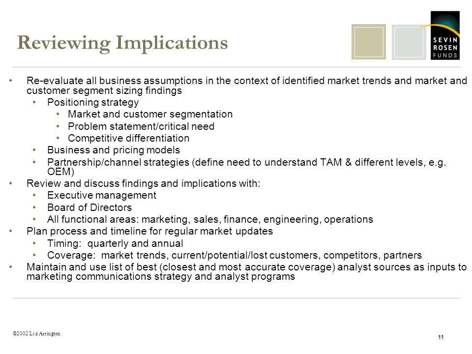 ©2002 Li z Arrington 11 Reviewing Implications Re-evaluate all business assumptions in the context of identified market trends and market and customer segment sizing findings Positioning strategy Market and customer segmentation Problem statement/critical need Competitive differentiation Business and pricing models Partnership/channel strategies (define need to understand TAM & different levels, e.g.