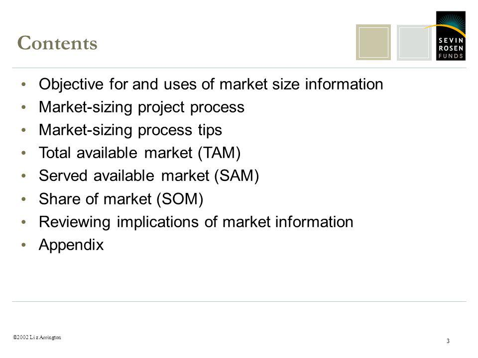 ©2002 Li z Arrington 3 Objective for and uses of market size information Market-sizing project process Market-sizing process tips Total available market (TAM) Served available market (SAM) Share of market (SOM) Reviewing implications of market information Appendix Contents