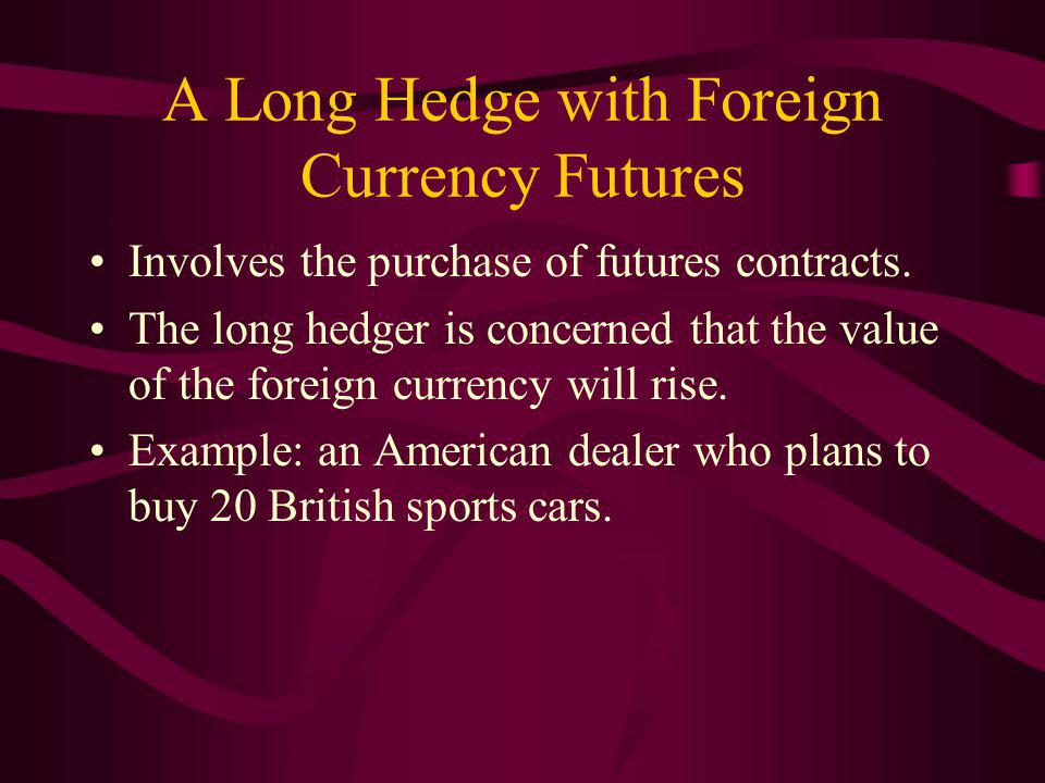 A Long Hedge with Foreign Currency Futures Involves the purchase of futures contracts.