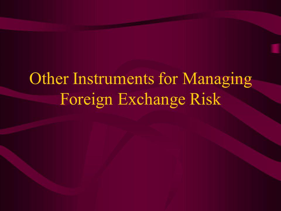 Other Instruments for Managing Foreign Exchange Risk