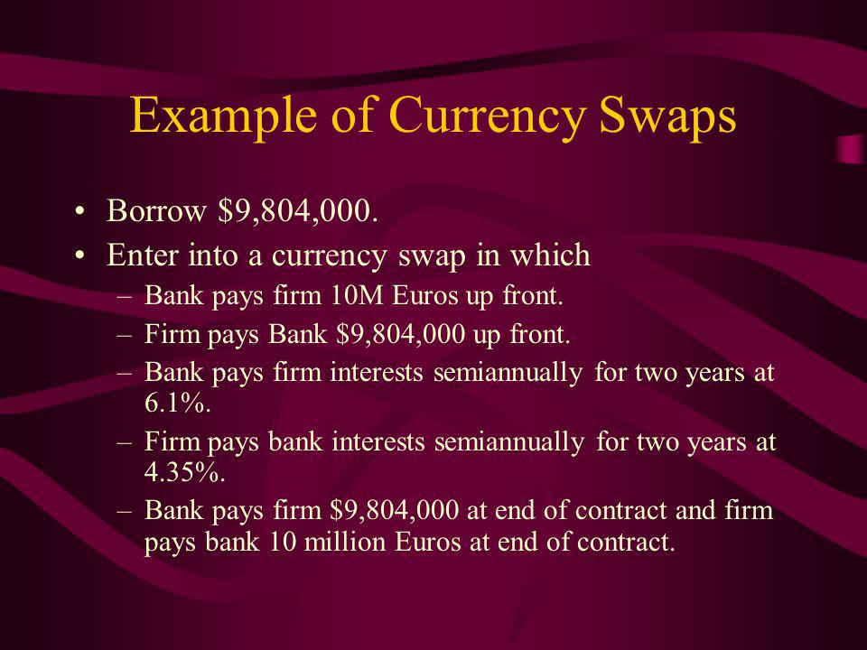 Example of Currency Swaps Borrow $9,804,000.