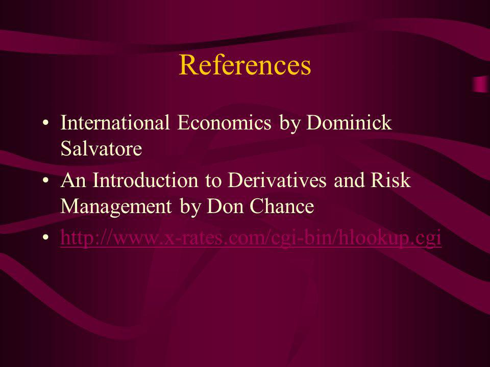 References International Economics by Dominick Salvatore An Introduction to Derivatives and Risk Management by Don Chance http://www.x-rates.com/cgi-bin/hlookup.cgi
