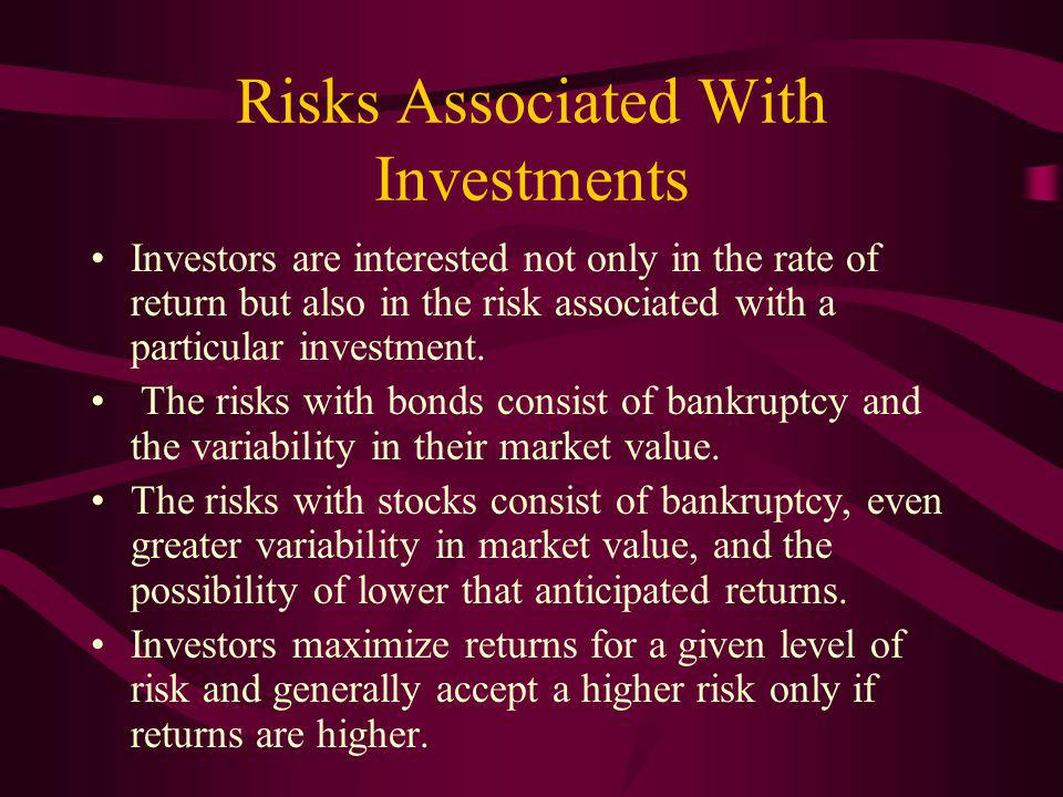 Risks Associated With Investments Investors are interested not only in the rate of return but also in the risk associated with a particular investment.