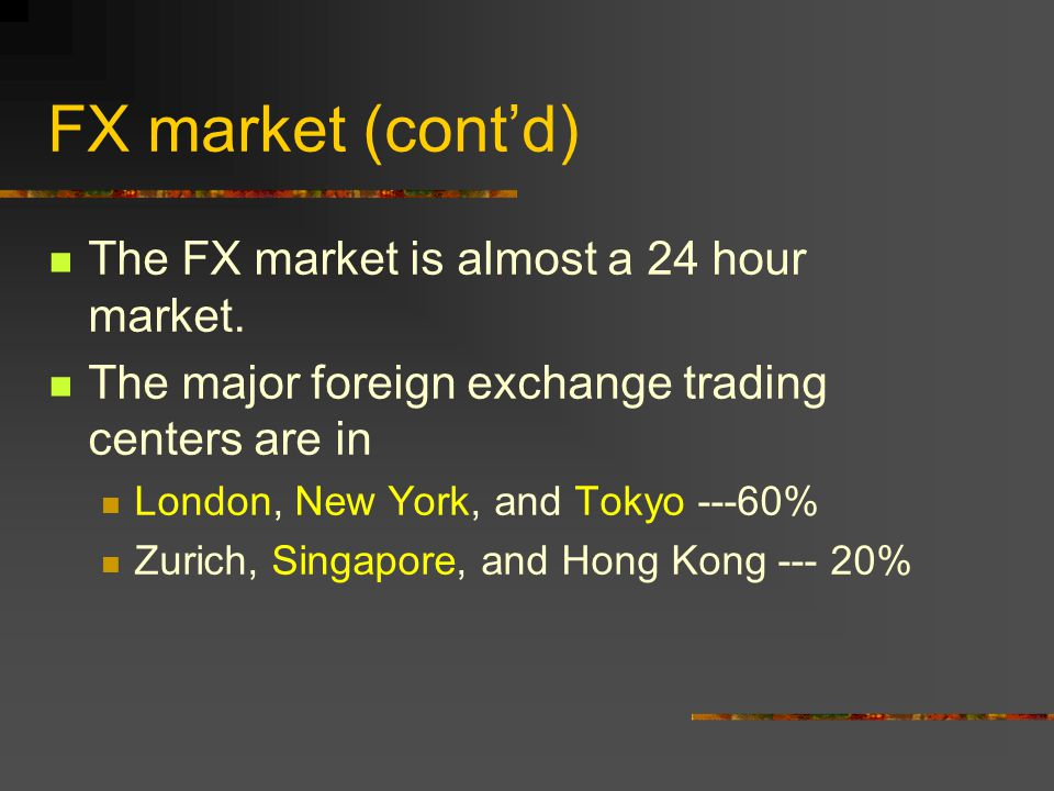 Foreign Exchange (FX) Market The FX market is an over-the-counter market.