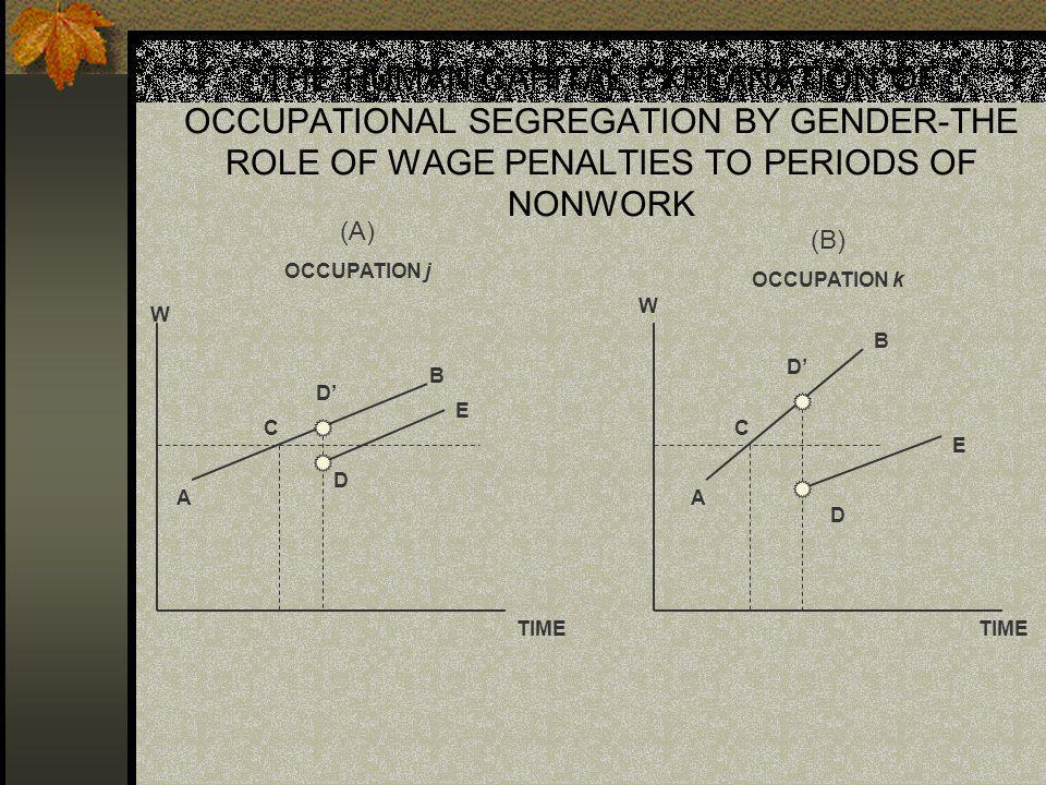 THE HUMAN CAPITAL EXPLANATION OF OCCUPATIONAL SEGREGATION BY GENDER-THE ROLE OF WAGE PENALTIES TO PERIODS OF NONWORK W TIME (A) OCCUPATION j A C D D B E A C D D B E (B) OCCUPATION k W TIME